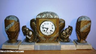 French Art Deco Spelter Clock Garniture C1925 photo