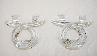 Pair Of French Modernist Art Deco Crystal Candleholders photo