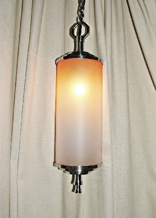 Art Deco Chrome & Tinted Glass Lantern / Hanging Light. photo