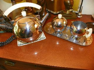 Chase Art Deco Chrome Bakelite Tea Set Wltr Von Nessen Signed Creamer Sugar Bowl photo