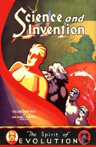1929 Science Art Deco Poster - The Spirit Of Evolution - Origin Of Man Invent photo