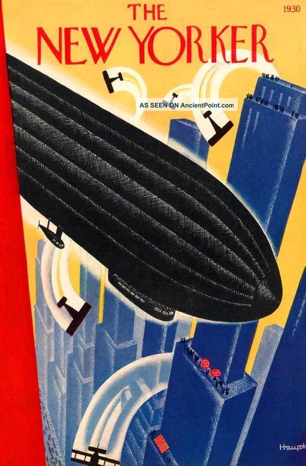 1930 Airship Flight Dirigible Aviation Haupt Art Deco Poster Blue City Art Art Deco photo