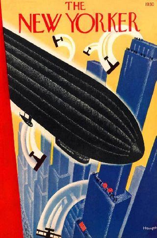 1930 Airship Flight Dirigible Aviation Haupt Art Deco Poster Blue City Art photo