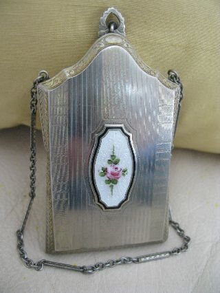 Vintage Art Deco Silver White Guilloche Lipstick Dance Powder Compact Marathon photo