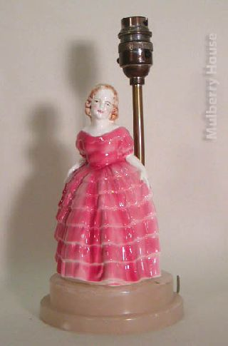 Vintage Pink Crinoline Lady China Table Lamp On Marble Base C1930s photo