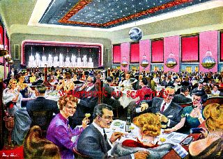 Old Art Deco~crowded Restaurant~ New Large Note Cards photo