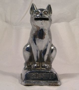 Vintage Art Deco Chrome Cat Bank Feed The Kitty C17 photo