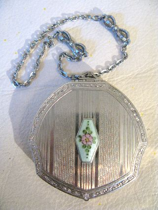 Vintage Art Nouveau Deco Light Green Guilloche Silver Bow Dance Powder Compact photo