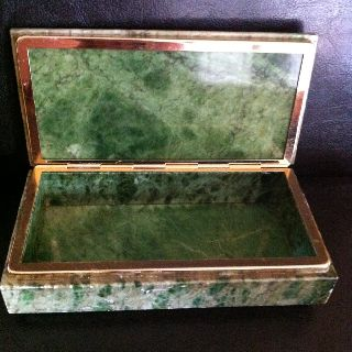 Large Art Deco Green Onyx Brass Trimmed Cigarette/trinket Box photo