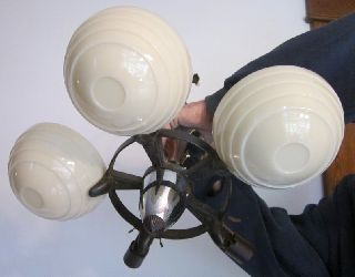 Antq Art Deco Chandelier Ceiling Fixture 5 Light / 3 Globes Custard Glass/chrome photo