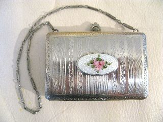 Vintage Art Nouveau Deco White Guilloche Silver Double Purse Dance Compact Fm Co photo