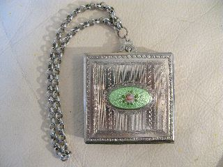 Vintage Art Nouveau Deco Lime Green Guilloche Silver Dance Posder Compact Dfb Co photo