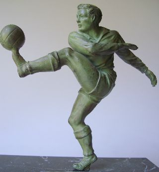 French Art Deco Sculpture Footballer Sport Soccer photo