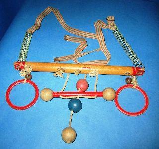 Antique Vntg Baby Crib Toy Hanger Wood Bakelite Rings Springs 40 ' S Red White Blu photo