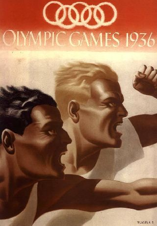 1936 Olympic Poster German Art Deco Nordic Sport Runner New Printing photo