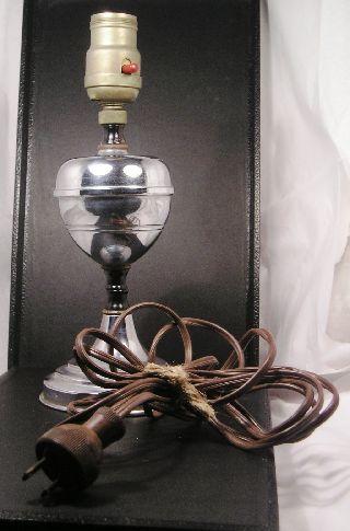 Vintage Chrome Art Deco Metal Lamp 02 Q20 photo