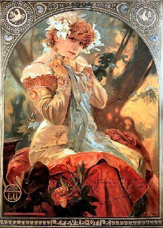 New Alphonse Alfons Mucha Art Nouveau Deco Lefevre - Utile Picture Painting Print photo