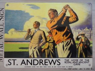Art Deco Style St.  Andrews Golf Poster Metal Wall Sign Home Of The Ancient Game photo