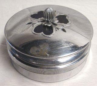 Chase Art Deco Chrome Covered Powder Dish 1930s photo