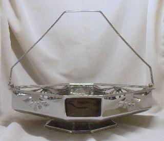 Pretty Art Deco Octagonal Chrome Cake Basket~pierced~c.  W.  S photo