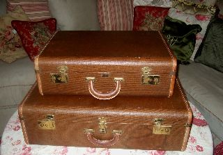 (2) Vintage 30 ' S Platt Airess Suitcases ~ Nesting Leather Display Pieces - Rare photo