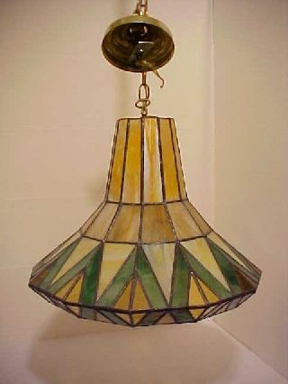 Antique Art Deco Stained Glass Ceiling Fixture Lamp Shade Elect.  Light photo