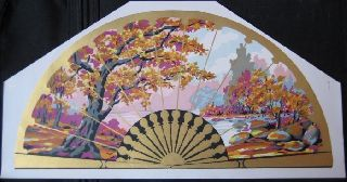 1930s French Art Deco,  Color Litho,  Fan - Shaped Print photo