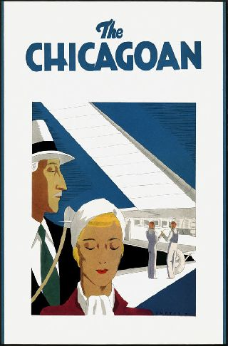 1930 ' S Chicago Plane Travel Aviation Art Deco Poster New Printing photo
