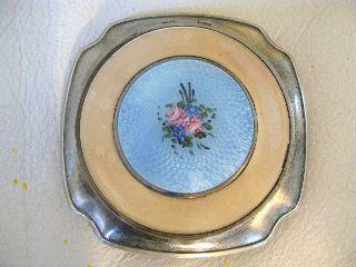 Vintage Art Deco Blue Goulloche Cream Enamel Pik Floral Powder Compact La Mode photo