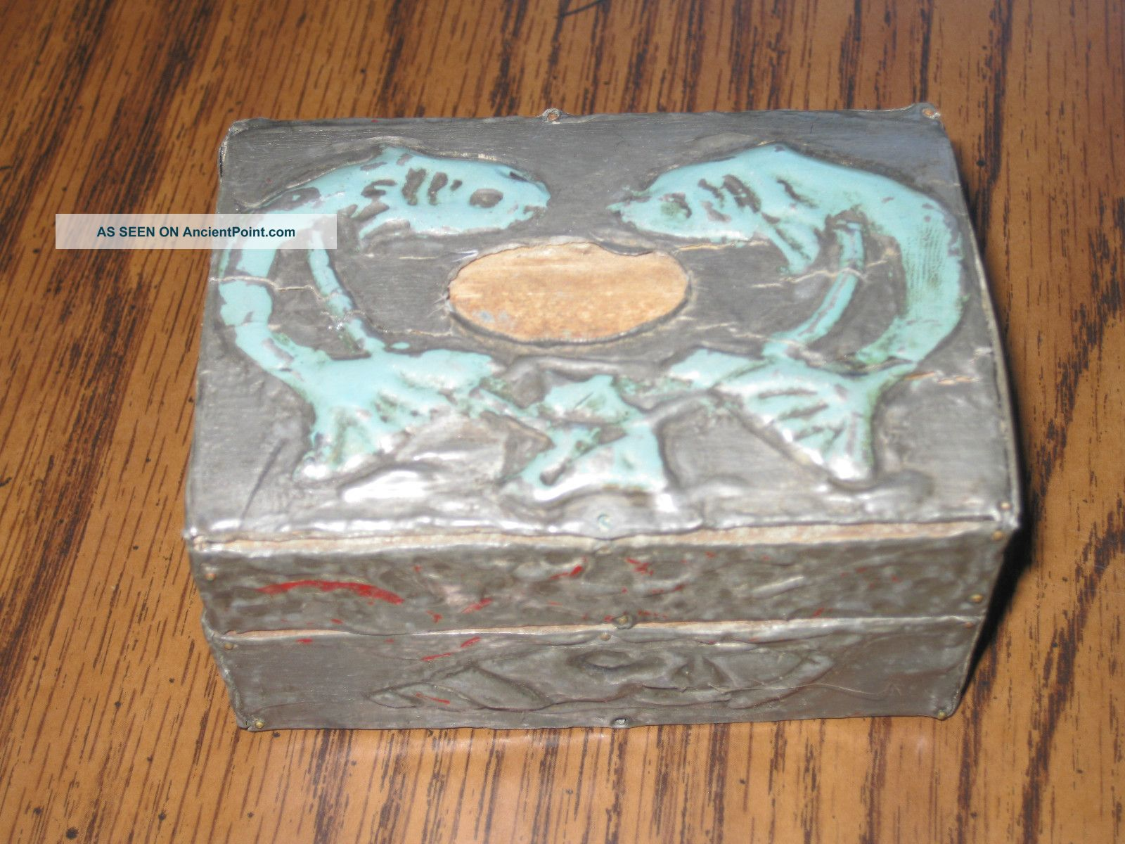 Antique Pisces Art Deco Silver Box Gem Tinover Wood Fish Trinket Box Keep Sake Boxes photo