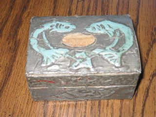 Antique Pisces Art Deco Silver Box Gem Tinover Wood Fish Trinket Box Keep Sake photo