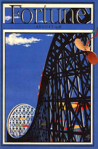 1938 Amusement Park Roller Coaster Bold Art Deco Poster New Printing photo