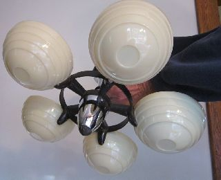Antq Art Deco Chandelier Ceiling Fixture 5 Globe Custard Glass/chrome/ceilng Cap photo