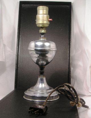 Vintage Chrome Art Deco Metal Lamp 03 Q20 photo