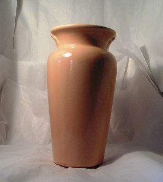 Vintage Pink Art Deco Depression Era Pottery 1930s Vase A32 photo