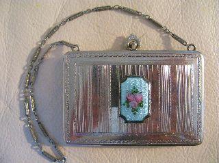 Vintage Art Nouveau Deco Silver Blue Guilloche Pink Floral Dance Compact Fm Co photo