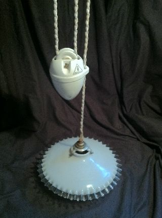 French Art Deco Rise And Fall Center Light C1930 photo