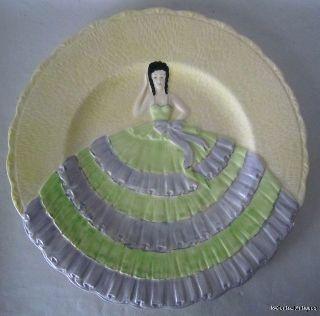 Art Deco Parrot & Co Coronet Ware England 3d Lady W/ Ruffled Dress Plate 9 1/4