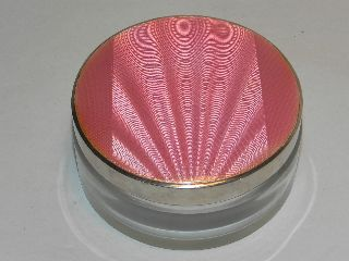 Vintage Art Deco Silver & Pink Guilloche Enamel Ladies Compact Powder Bowl photo