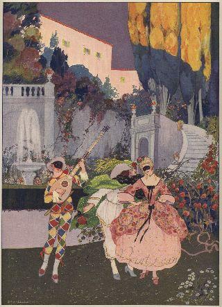 Brunelleschi,  La Comedie Italienne,  1912 Linen - Backed French Deco Print photo