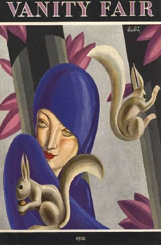 1928 Woodland Love Queen Blue Princess Art Deco Poster New Printing photo