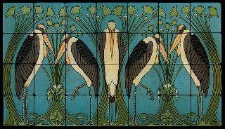 28x16 William Morris Art Nouveau Cranes Still Life Marble Tile Mural photo