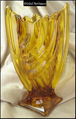 1930s Antique Art Deco Amber Crystal Glass Vase photo