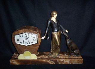 Art Deco 1930s Menneville E.  Spelter Ivorine Clock Woman And Greyhound Statue photo