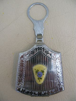 Vintage Art Nouveau Deco Silver Yellow Blue Guilloche Dance Compact Rm Co Mint photo