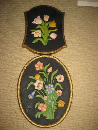 Vintage Art Deco Flower Handpainted Wall Plaques Set Chalkware photo
