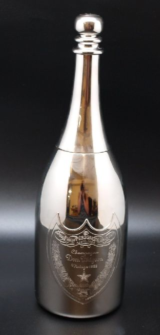 Silver Plated Cocktail Shaker In The Form Of A Dom Perignon Champagne Bottle photo