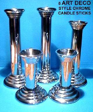 5 Art Deco Curvilinear Zigguratu Chase Style Heavy Chromium Metal Candle Sticks photo