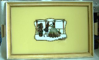 Art Deco Reverse Painting On Glass Tray Silouette photo