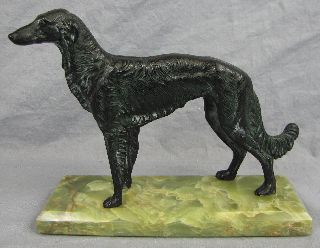 Large Art Deco Bronze Borzoi On Green Onyx Base photo
